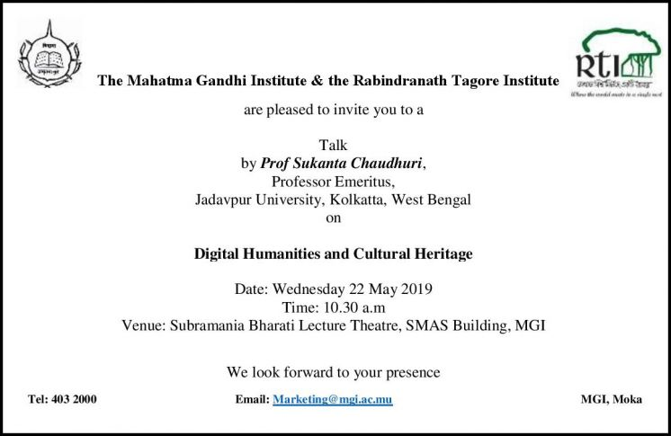 Talk on Digital Humanities and Cultural Heritage